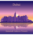 Dubai Jumeirah Lakes Towers silhouette on sunset b vector image