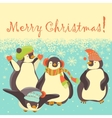 Funny penguins friends celebrating Christmas vector image vector image
