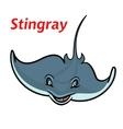 Swimming cartoon deepwater stingray fish vector image