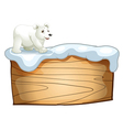 A polar bear above the empty wooden signboard vector image