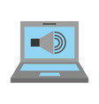 laptop with speaker sound isolated icon vector image