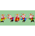 pig cartoon character in the clothes in different vector image