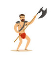 warrior character naked man in a red loincloth vector image