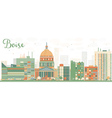 Abstract Boise Skyline with Color Buildings vector image