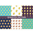 set of 6 seamless pattern with cartoon birds and vector image