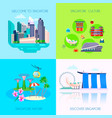 flat singapore culture icon set vector image