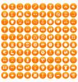 100 sport accessories icons set orange vector image