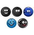 Blue and black bowling balls cartoon characters vector image vector image