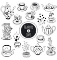 Doodle teapots and cups vector image
