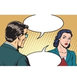 Businessman and businesswoman dialogue vector image