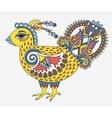 retro cartoon chicken drawing symbol of 2017 new vector image
