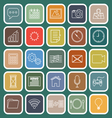 Application line flat icons on green background vector image