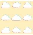 clouds set with colored edges and icons for cloud vector image