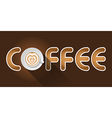 coffee word with top view of Latte art cup vector image