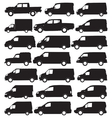 Van and pickup silhouettes vector image