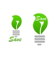 Light bulb icon with green leaf vector image vector image