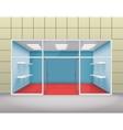 Empty shop front boutique window and open door 3d vector image vector image