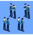 Isometric People Policeman and Policewoman vector image