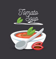 delicious tomato soup menu restaurant vector image
