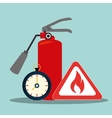 extinguisher and flame signal vector image