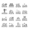 farming icons in a thin linear style vector image