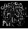 Handdrawn russian doodle alphabet Random letters vector image