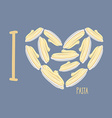 I love pasta Symbol heart of plates with spaghetti vector image