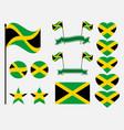 jamaica flag set symbols flag in heart vector image