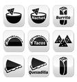 Mexican food buttons - tacos nachos burrito que vector image