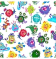 Cute monster party kids seamless pattern vector image