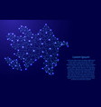map of azerbaijan from polygonal blue lines vector image