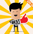 Business man holding Sticker Best tag collection - vector image