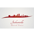 Jacksonville skyline in red vector image vector image