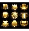 Set of Golden Shields vector image