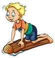 A boy above the log vector image