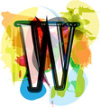 Artistic Font - Letter W vector image