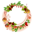 christmas frame with balls and fir branches vector image vector image