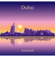 Dubai Jumeirah silhouette on sunset background vector image
