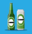 bottle of beer with glass beer alcohol drink vector image