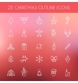 Christmas outline icons Holiday New Year icons vector image