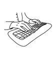 hands without nails on keyboard of computer - vector image