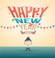 Happy new year test with cartoon vector image