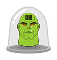 Head of alien in glass jar for experiments Green vector image