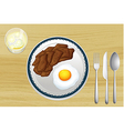 Meat and eggs on plate vector image vector image