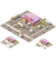 isometric low poly warehouse building icon vector image vector image