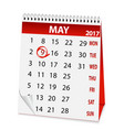 icon calendar for may 9 2017 vector image vector image