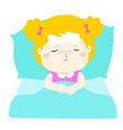 little sick girl sleep in bed vector image