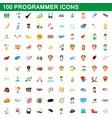 100 programmer icons set cartoon style vector image