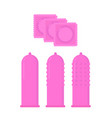 Condom set pink contraceptive difference condom vector image