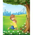 A mother hugging her daughter under the tree vector image